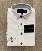 Leo & Zachary White w/Blue Stitch L/S Dress Shirt