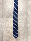 Leo & Zachary Navy/Silver Stripe Neck Tie