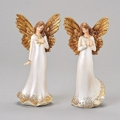 "9"" Ivory/Gold Angel Figure"
