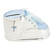 "2.5""h Blue Baby Shoe Bank"
