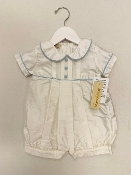 Boys Dupioni Silk Romper w/Blue Trim