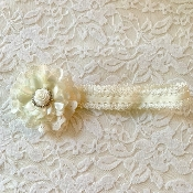 Ivory Lace Headband w/Lace Flower