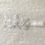 White Lace Headband w/Lace Applique/Flowers