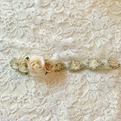 White Elastic Headband w/Rhinestone Applique/Flowers