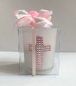 Glass Votive Holder Pink Cross Bomboniere