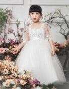 Princess Daliana Embroidered Lace/Tulle Dress w/Sleeves