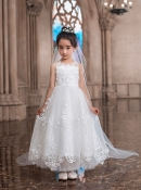 Princess Daliana Embroidered Lace/Tulle Dress
