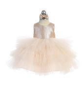 Infant Metallic Bodice Dress with Layered Tulle Skirt