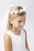 Girls Flower Crown with Veil