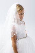 Girls Veil with Beaded Scalloped Edge