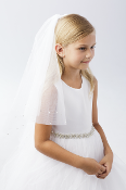 Girls Veil with Scattered Pearls