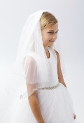 Girls Veil with Beading/Wave Edge