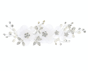 White Organza Flower Hair Comb w/Stones/Pearls