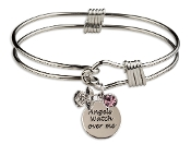 Rodium Plated Guardian Angel Charm Bangle