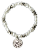 White Heart Bracelet w/Blessed Charm