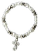 White Heart Bracelet w/Cross Charm