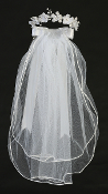 "24"" White Veil w/Organza Flowers/Stones/Pearls/Bows"