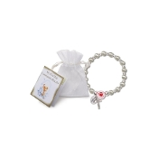 Communion Pearl/Rose Stretch Bracelet