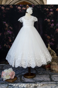 Princess Daliana Beaded Tulle Dress with Lace Hem