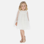 Mayoral Girl Embroidered Tulle Plumeti Dress
