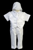 Boys Long Pant Baptism outfit with Cross Embroidery