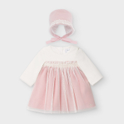 Mayoral Baby Girl Combined Ceremony Dress/Bonnet