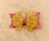 Gold/Pink Glitter Bow Hair Clip