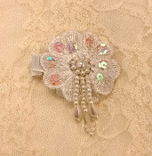 White Sequin Flower w/Drop Beads Hair Clip