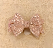 Soft Pink Sparkle Bow Hair Clip