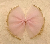 Pink/Gold Trim Bow Hair Clip