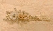 White Lace Headband w/Rose/Applique