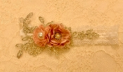 White Lace Headband w/Blush Roses/Applique