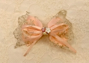 Blush/Lace Satin Fancy Bow Clip
