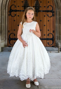 Princess Daliana Satin Dress w/Cap Sleeves/Bow