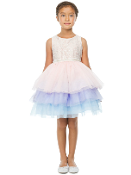 Girls Lace/Tulle Dress w/Pearl Belt,