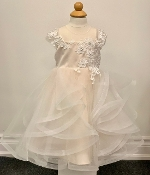 Princess Daliana Embroidered Tulle Infant Dress w/Pearls