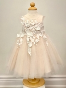 Princess Daliana Embroidered Tulle Infant Dress w/Flowers