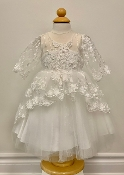 Princess Daliana Embroidered Tulle Infant Dress w/Lace Overlay
