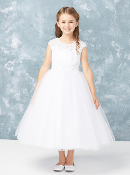 Girls Lace Neckline Dress with 3D Flowers and Tulle Skirt