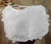 Matte Satin Girls Bib with Screened Cross