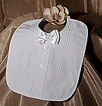 BOY'S POLY COTTON BIB W/BOW TIE & PIN TUCKING