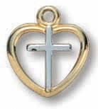 18kt Gold on Sterling Silver Heart/Cross