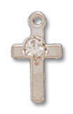 Rhodium Plated Cross w/Crystal Stone on 16in Chain